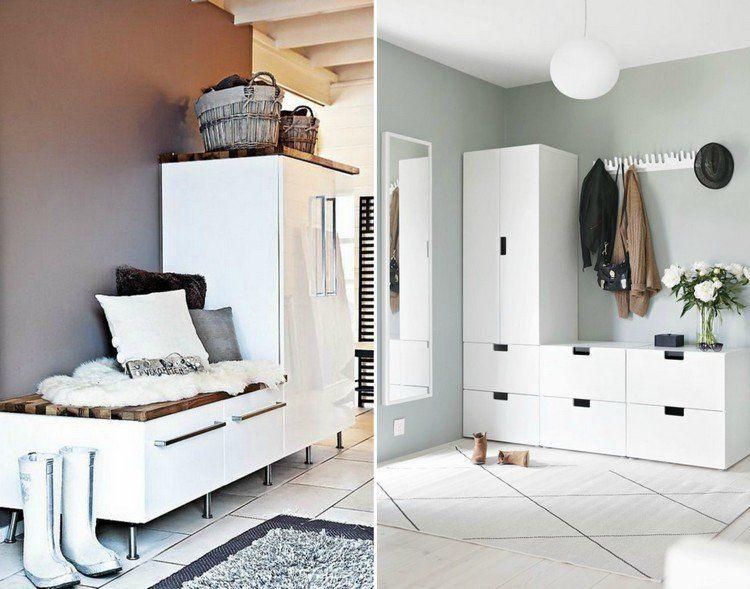 entre moderne blanche amnage avec un meuble dentre avec rangements et des patres