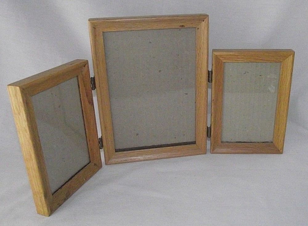 Tri Fold Photo Frame Wood Picture Table 4 X 6 8 X 6 Glass Display 3