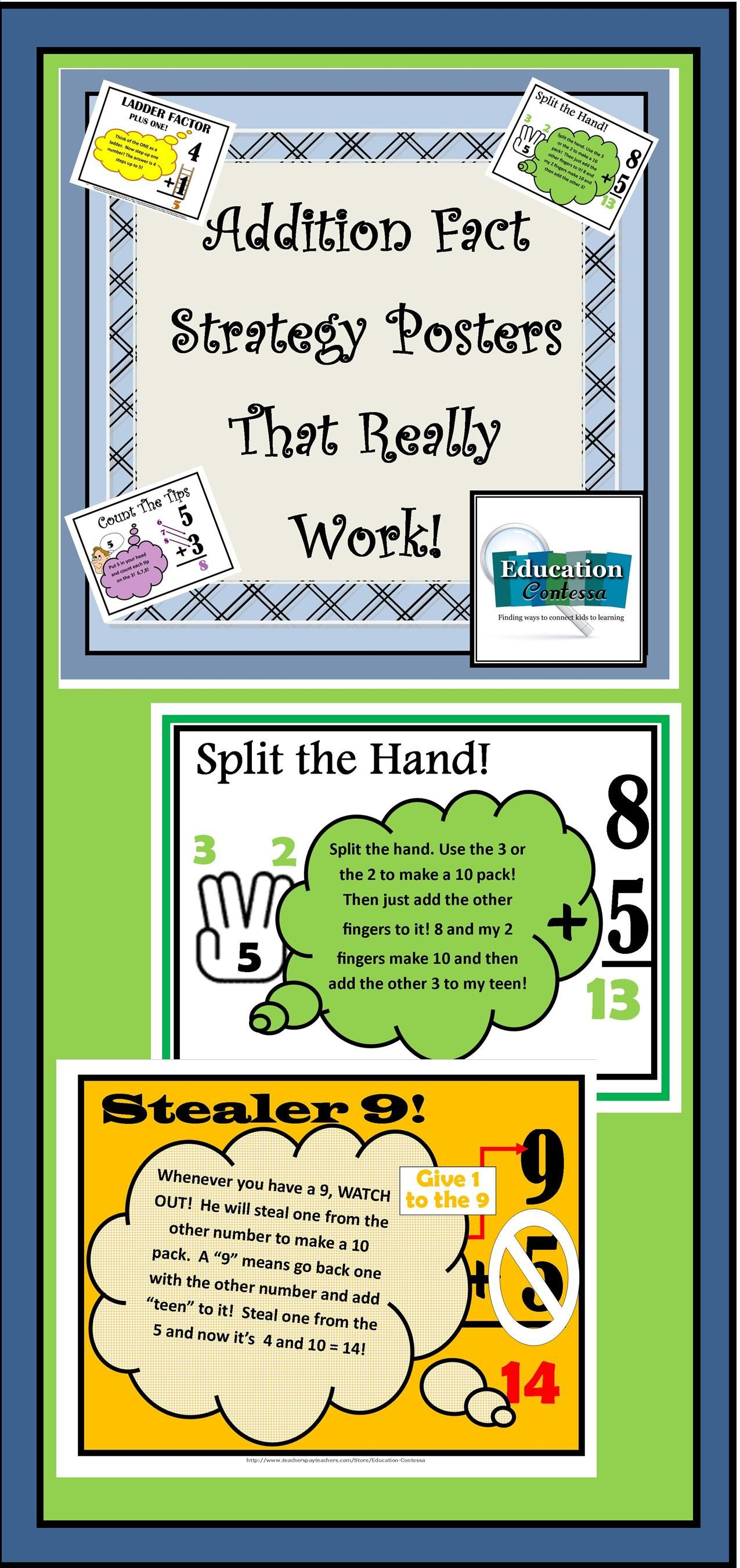 Addition fact strategy posters to use with flash cards | Awesome ...