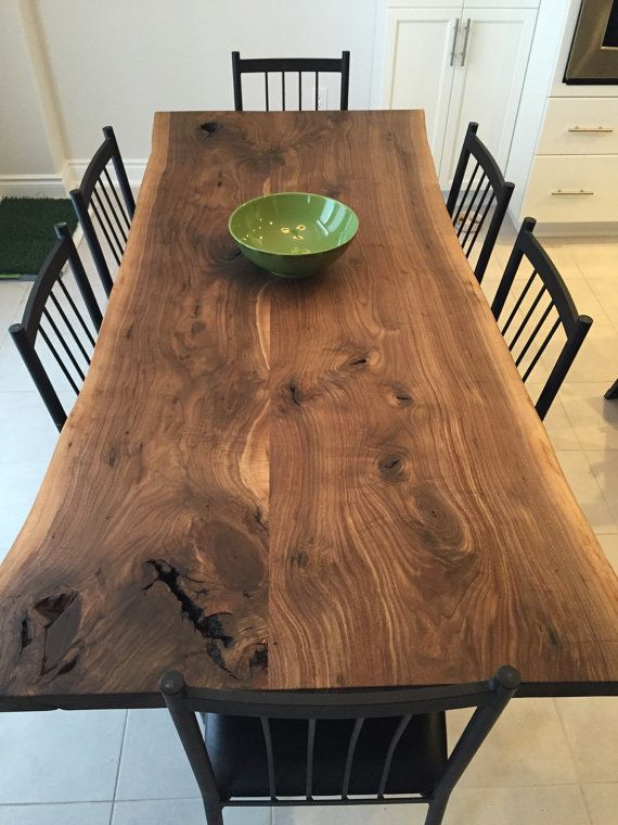 Gorgeous Black Walnut Dining Table With 1x3 Metal Trapezoid Legs Finished With A Polyx Hand Rubbed Wax Dining Table Dining Room Table Live Edge Dining Table