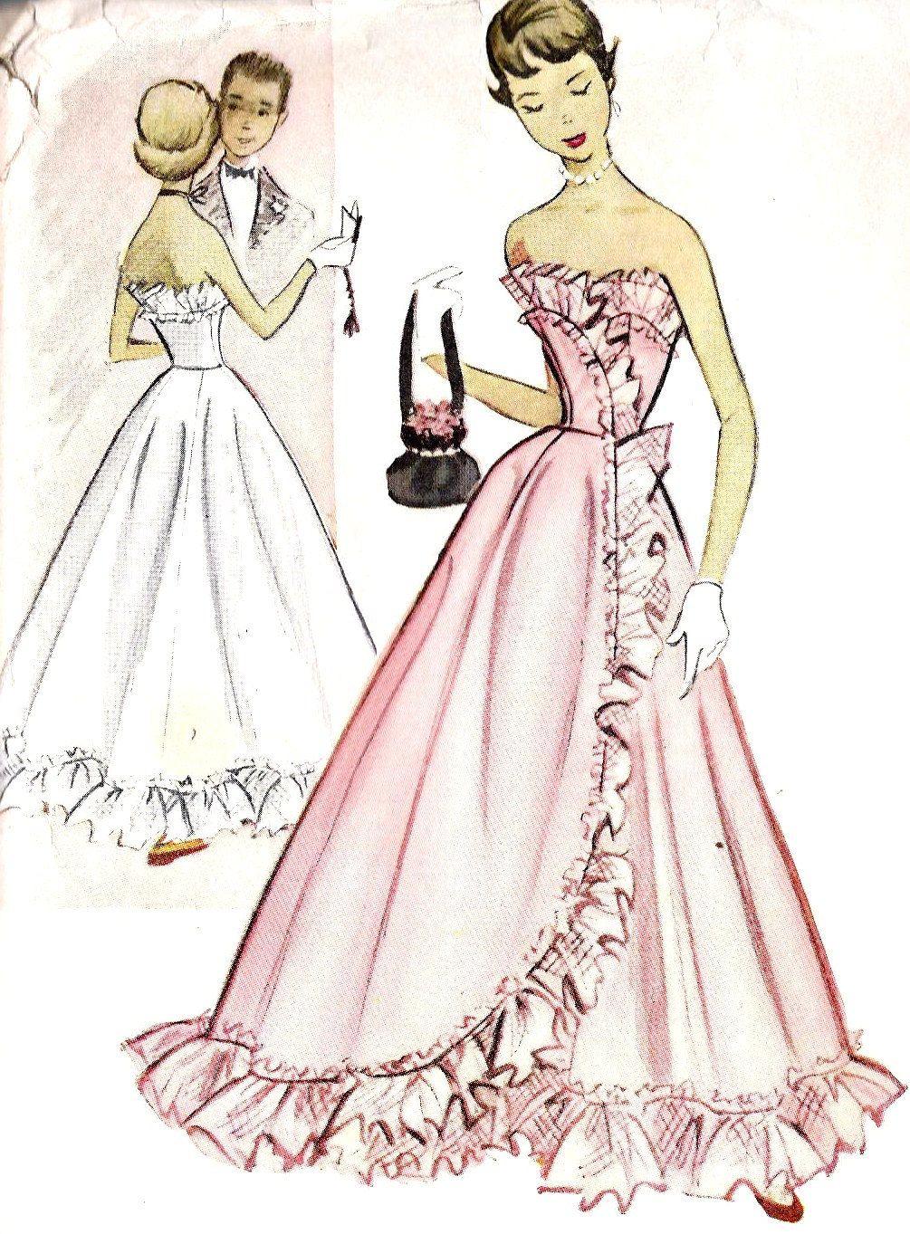 1950s Teen Strapless Evening Dress, Evening Gown, Prom Dress ...