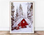 Winter-Kunst Weihnachten Print Winterwald Schnee Wald Print Winterlandschaft gro…
