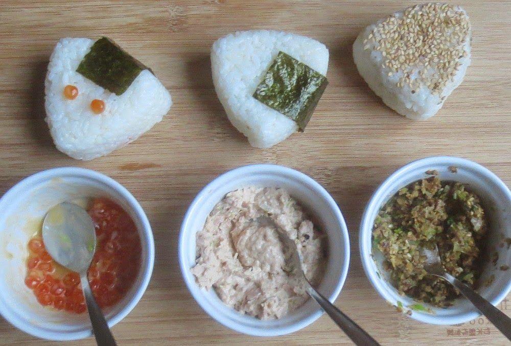 Japanische Onigiri mit 3 verschiedenen Füllungen, Onigiri selbermachen