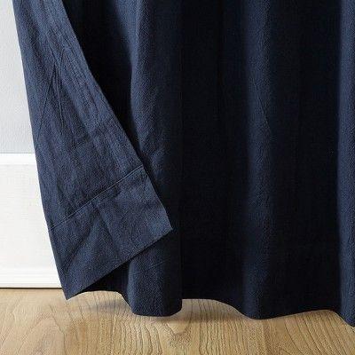 52 X84 Washed Cotton Twist Tab Curtain Navy Blue Archaeo Tab Curtains Tops Designs Cotton Curtains