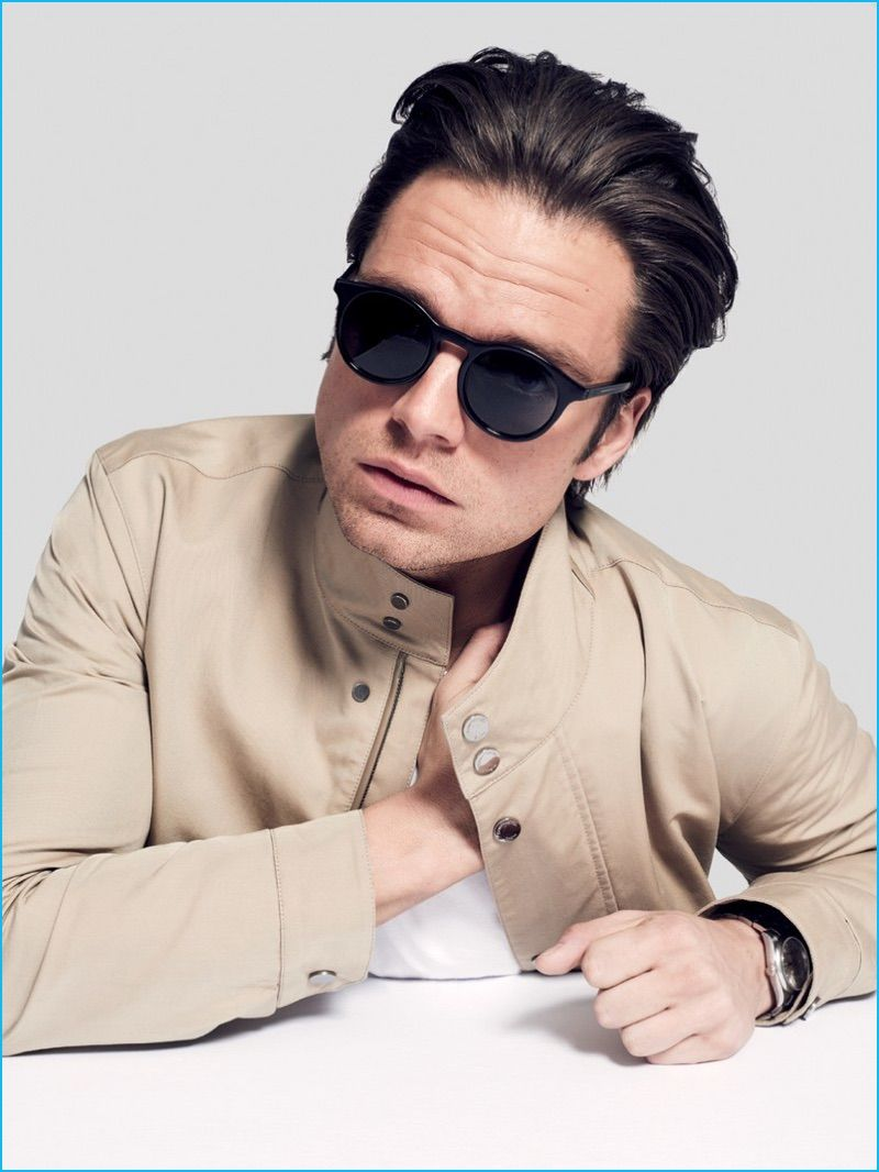 4490fea42cbf Sebastian Stan is front and center in Dior Homme sunglasses with a Ermenegildo  Zegna jacket and Rolex watch.