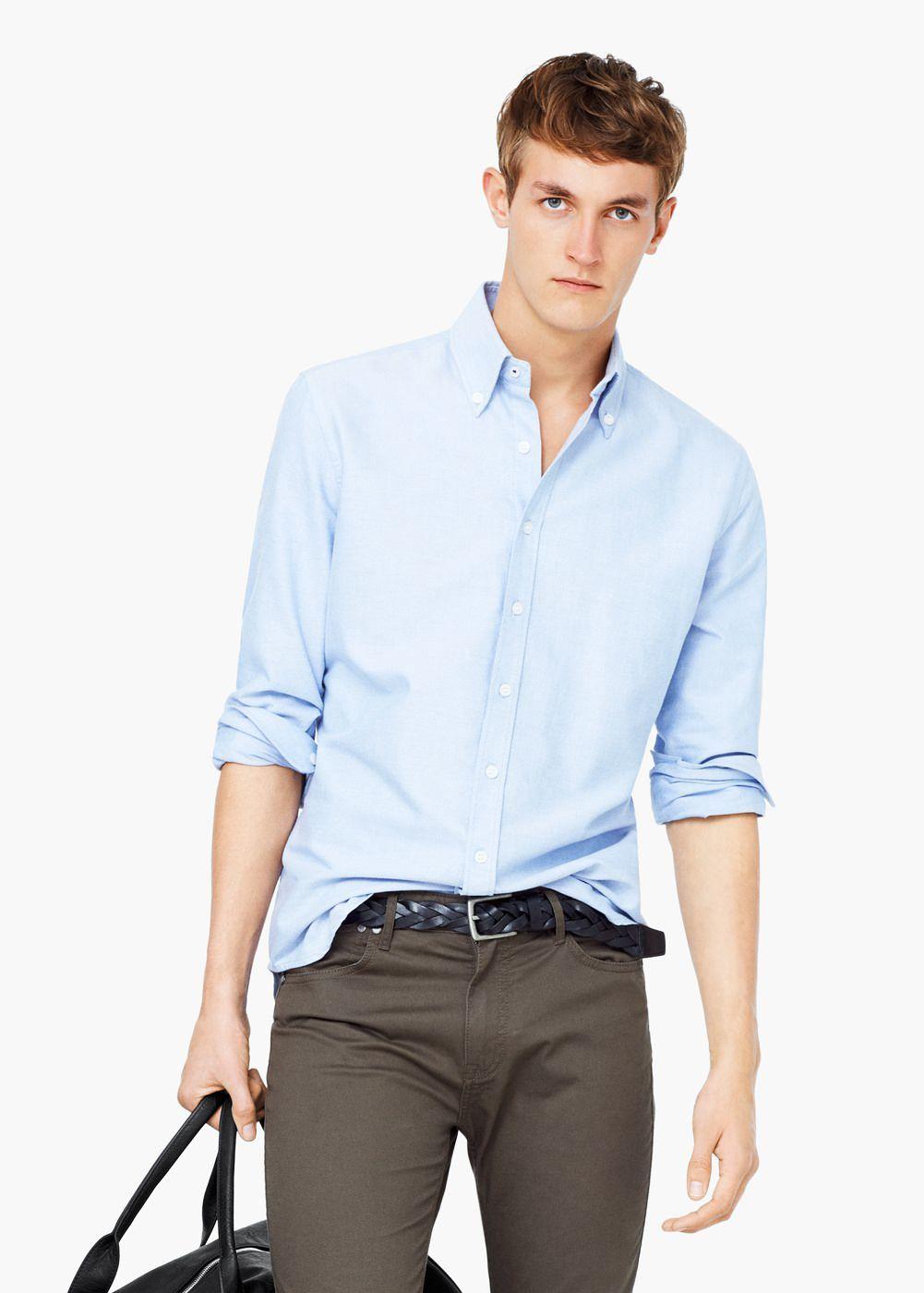 Camisa slim-fit algodão oxford - Homem   MANGO Man Portugal