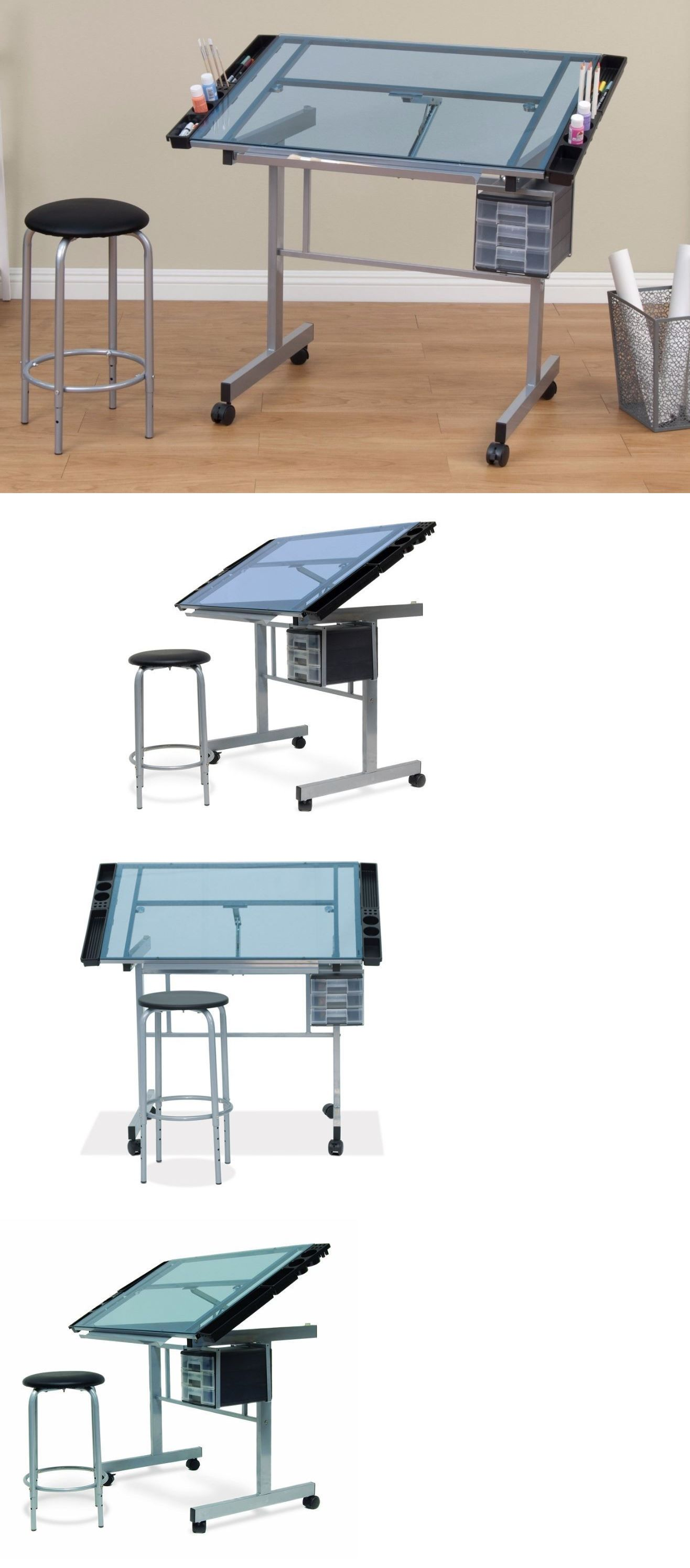 Drawing Boards And Tables 183083: Art Drafting Table For Adults, Kids  Adjustable Architect Glass