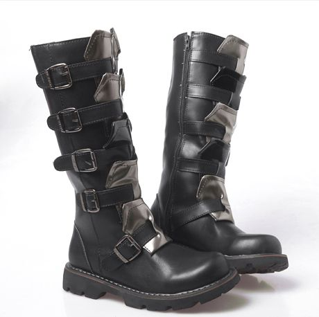 Fashion Winter Designer Cowboy Boots Mens Black Leather Tall ...