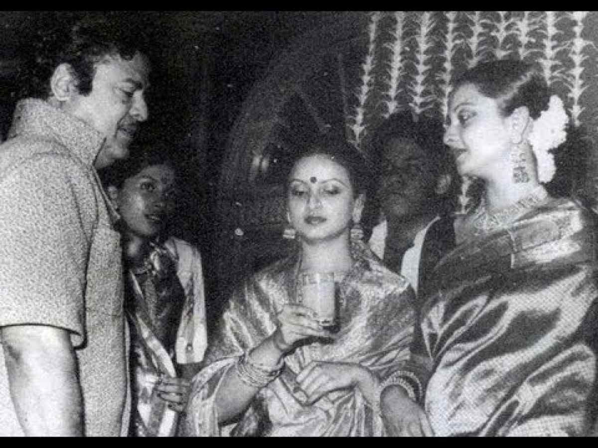 Rekha with her parents, Gemini Ganesan and Pushpavalli