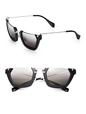 45bcbc2e7a06 Miu Miu Semi-Rim 50MM Square Sunglasses - Black - Size No Size ...