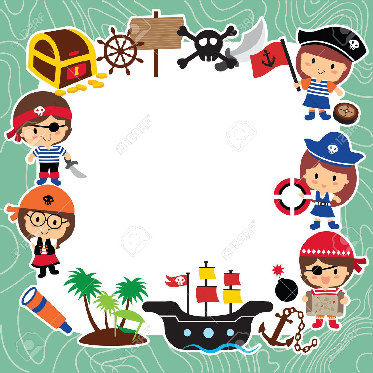 32649556 Pirates Kids Layout Design Stock Vector