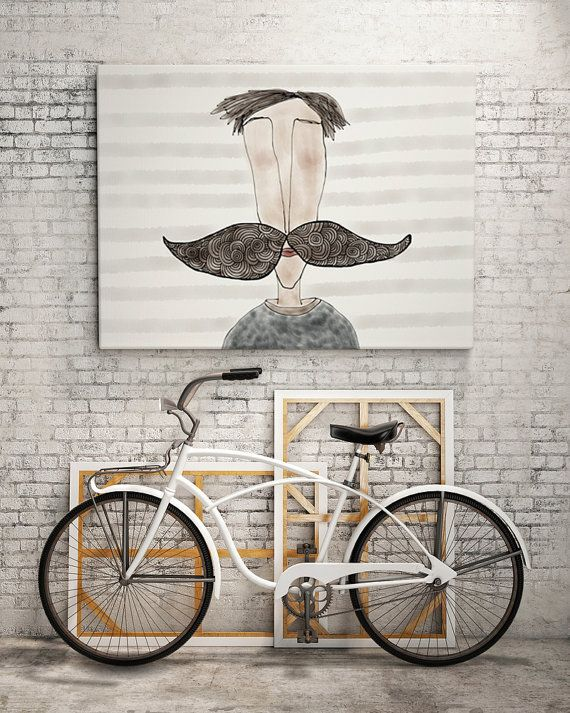 PRINT  MOUSTACHE LOVE / Striped: Illustration Print. by ekinakis