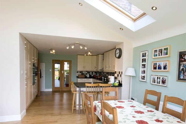 Mirror in back kitchen dining room ceeling window for Dining room extension ideas
