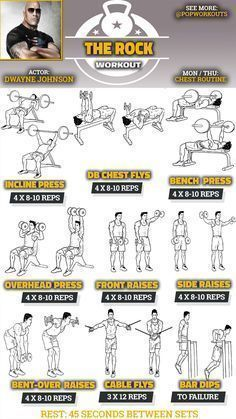 Dwayne Johnson Chest Workout | Pop Workouts #chestworkouts The Dwayne Johnson chest workout builds The Rock's massive upper body. Johnson detailed his workout routine for the movie Pain & Gain via Twitter and Instagram. The Rock's trainer, George Farah, also talked about the exercises they did together. The Rock's chest workout is illustrated below. For Pain & Gain, Dwayne Johnson wanted to be … #chestworkouts