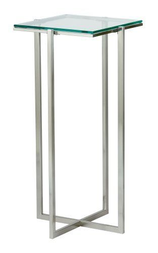 Adesso Glacier Tall Pedestal, Satin Steel     Contemporary   Side Tables  And Accent Tables   ShopFreely