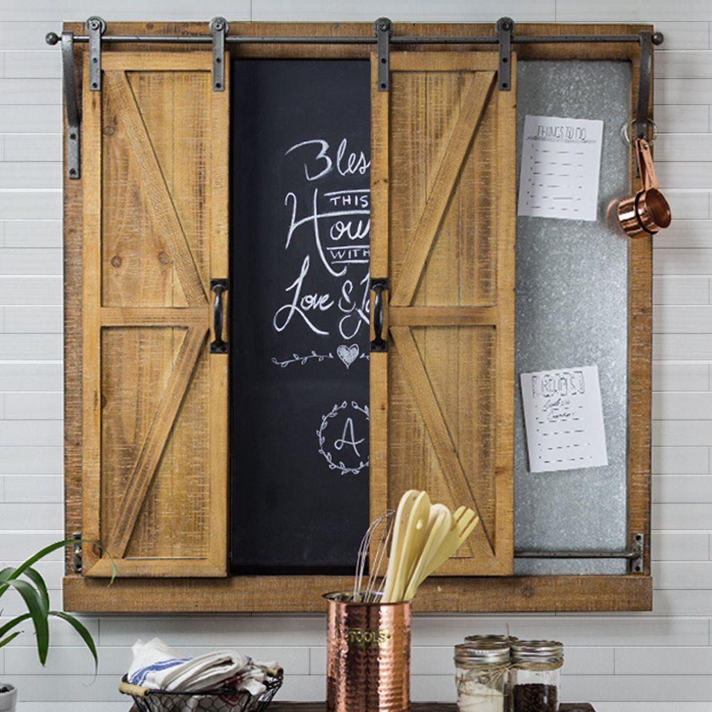 Sliding Barn Doors Chalkboard Message Board Organizer Kitchen