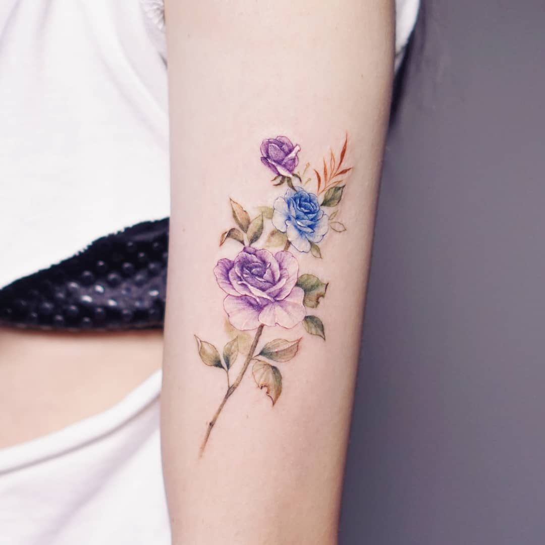 Gentle Flowers Tattoo By Silo Whimsical Tattoos Tattoos For Women Wrist Tattoos For Women