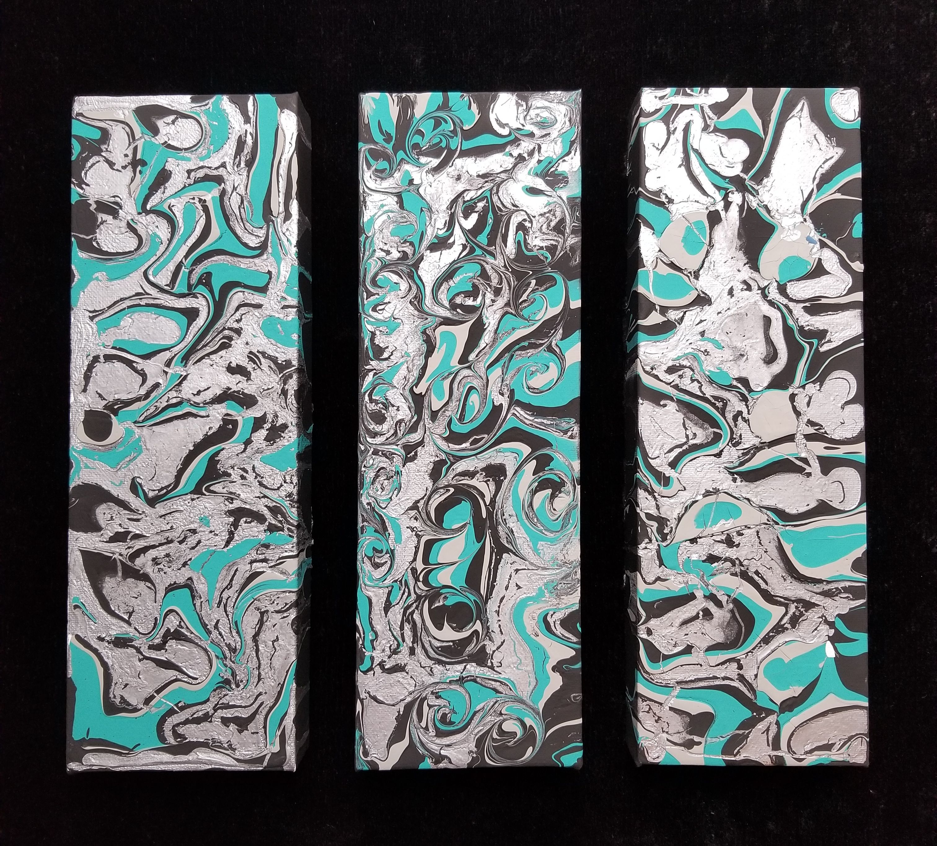 Abstract wall art acrylic pouring teal black grey and silver