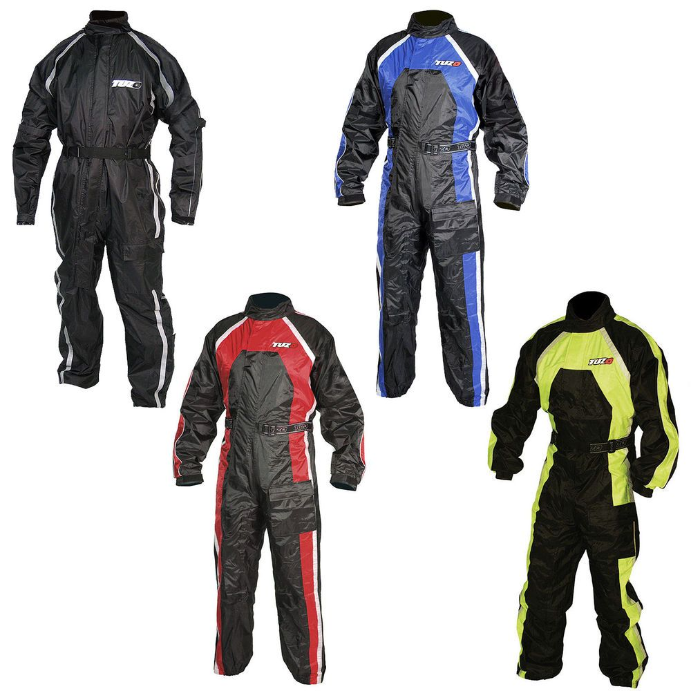 Tuzo One Piece Motorcycle Waterproof Rain Over Suit Black Fluorescent Red Blue Ebay Red And Blue One Piece Suits