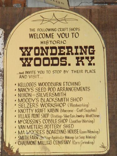 472c7e451c1 WONDERING WOODS SIGN Original Amusement Park Collectible Sign Cave City KY  Parks