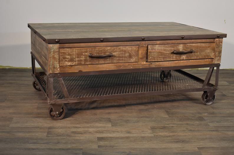 Industrial Rustic Reclaimed Wood Coffee Table On Wheels Coffee Table Wood