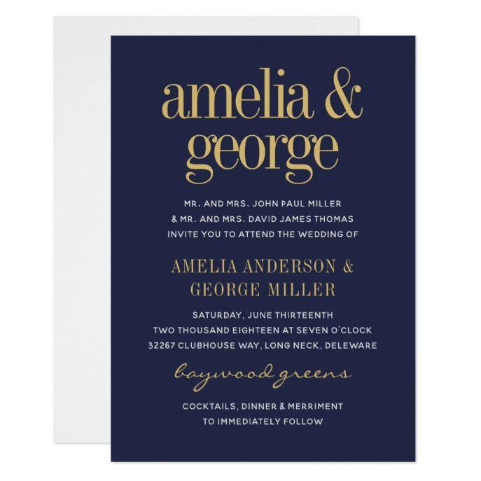 Elegant Modern Typography Gold Grey Wedding Invitation In 2018