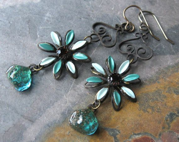 Green Enamel Daisy Flower Earrings with Rhinestones and Vintage Components by fancylinda