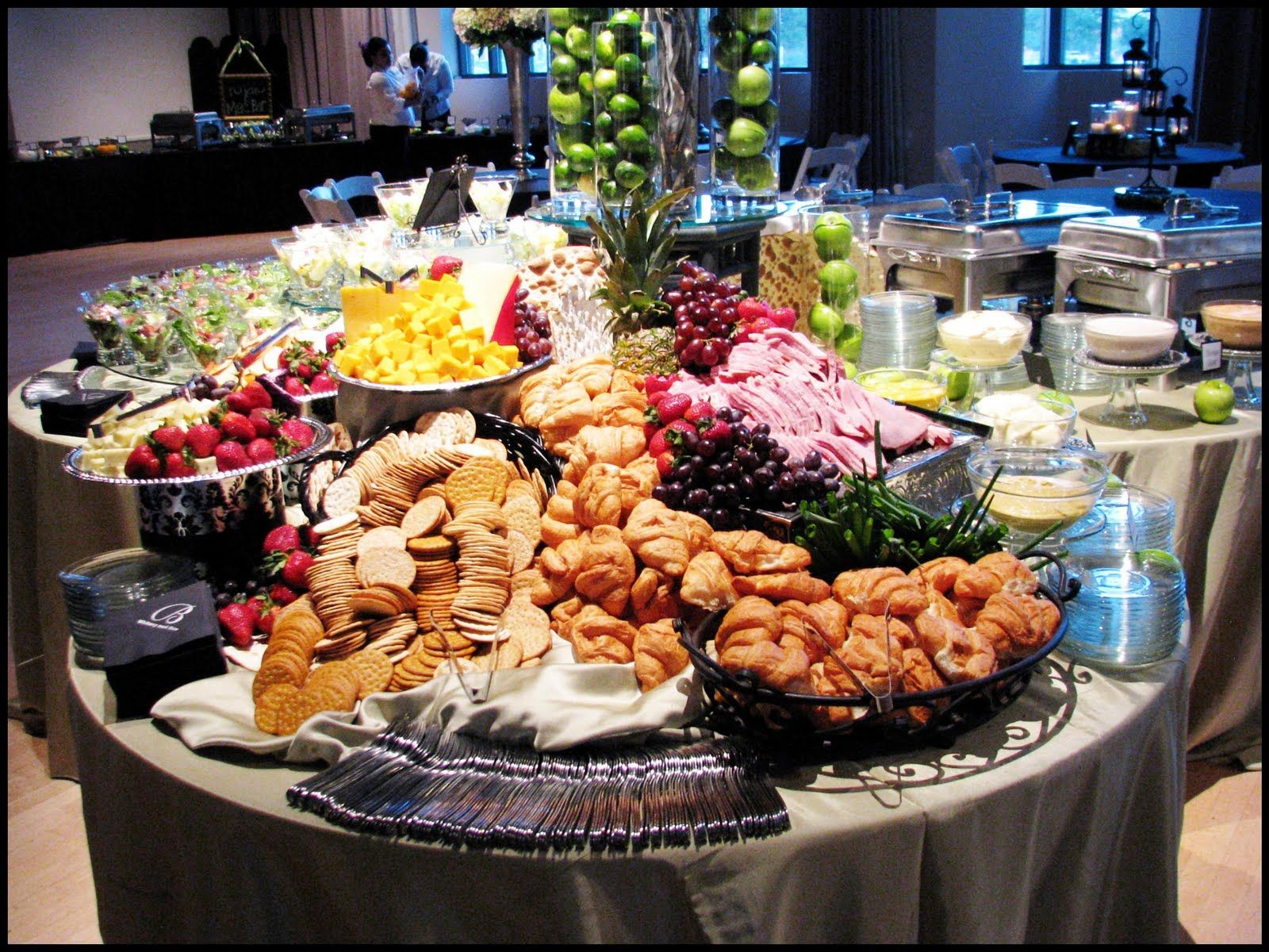 Gorgeous Green Reception Wedding Food Table Wedding Food
