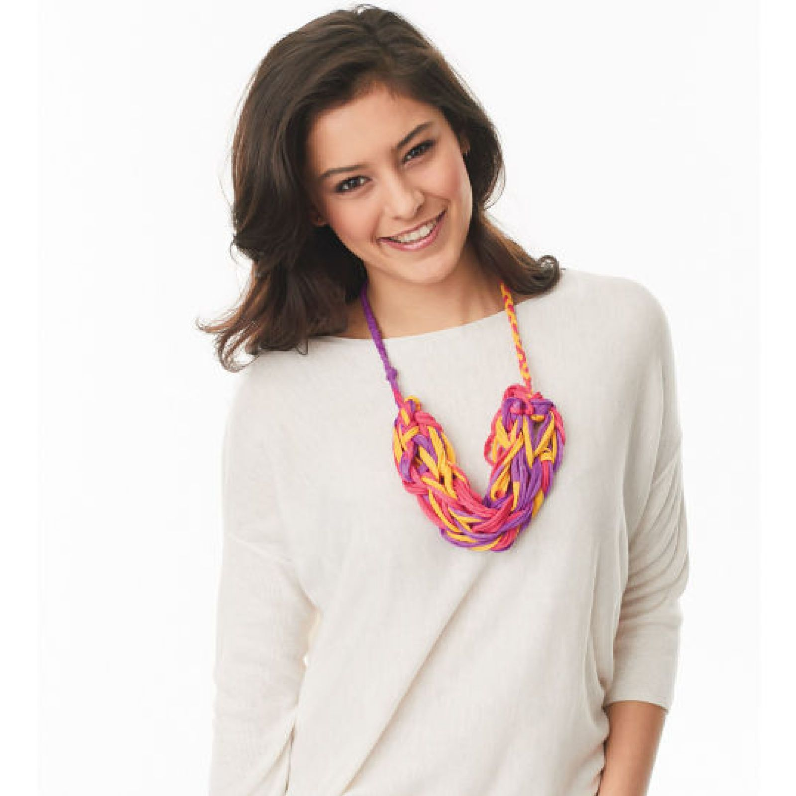 Loops & Threads® T-Shirt™ Arm Knit Necklace Free Pattern | Knitting ...