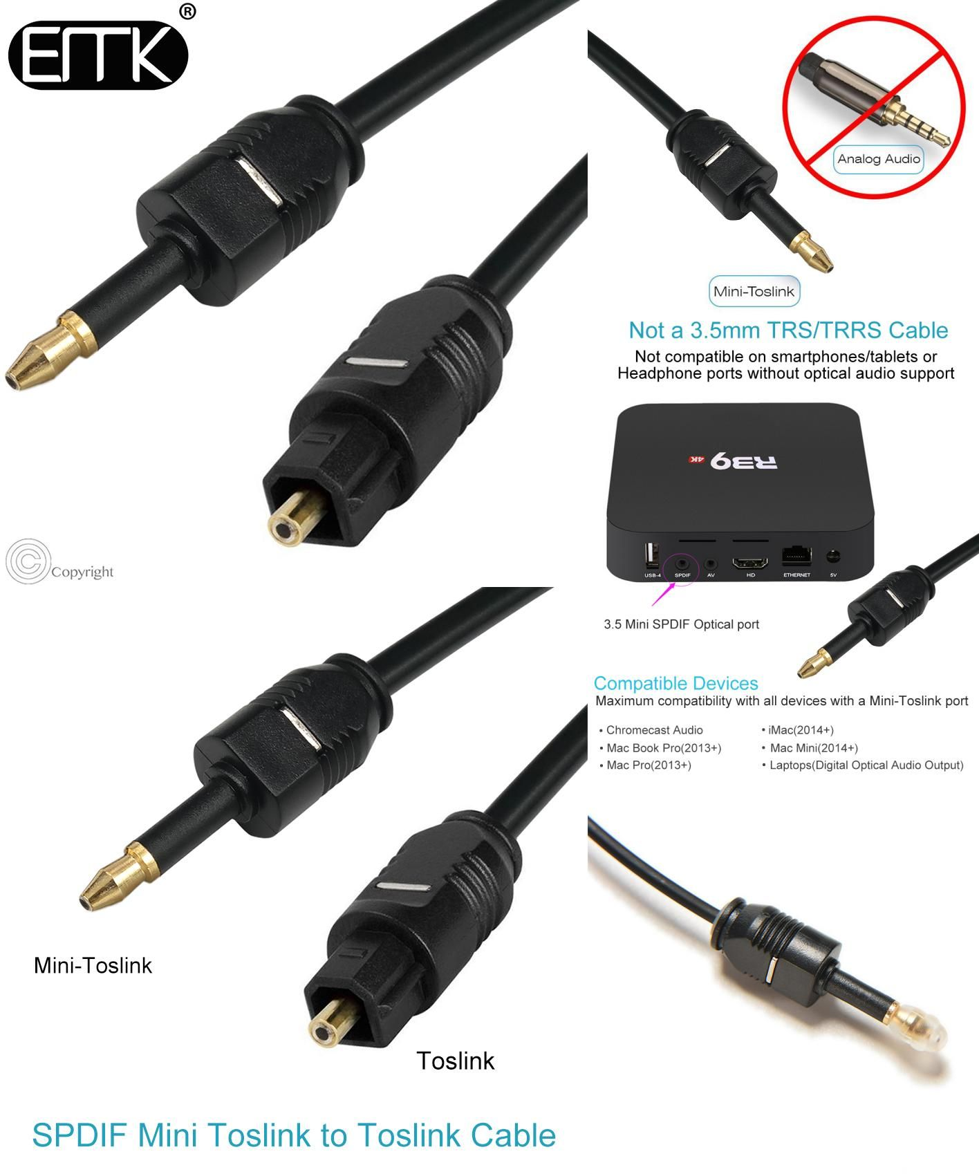 Visit To Buy Emk Digital Toslink To Mini Toslink Cable 3 5mm Spdif Optical Fiber Cable 3 5 To Optical Audio Cable Adapter For Audio Cable Digital Sound Cable