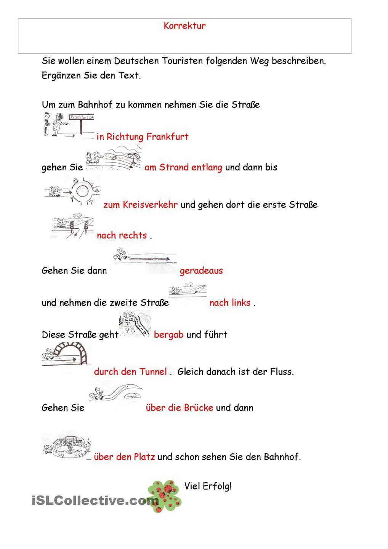 Wegbeschreibung Test | Deutsch, Wegbeschreibung und Arbeitsblätter