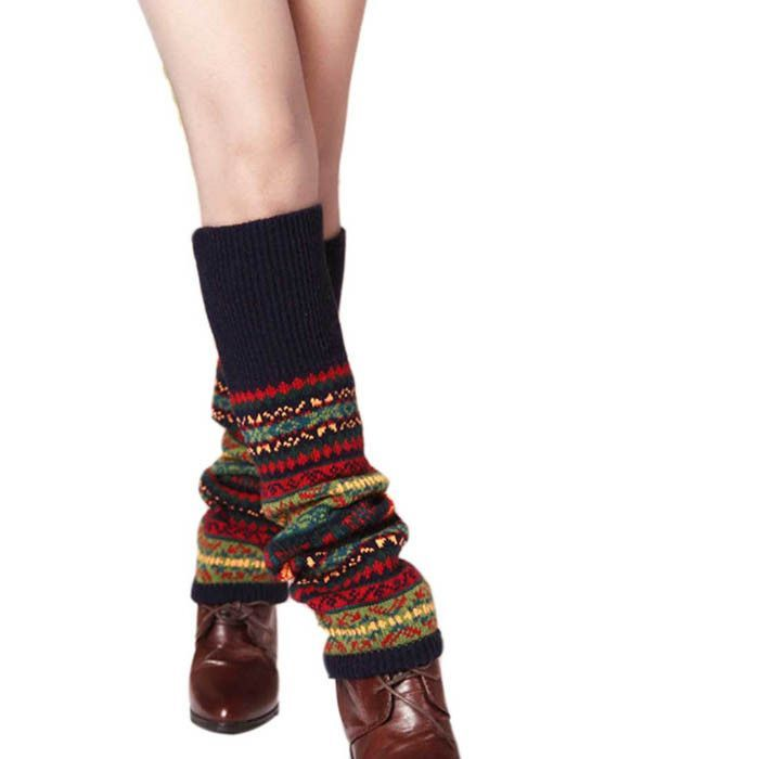 Leg Warmers Geometric Embossing Boot Cuffs Thick wool sock piles ...