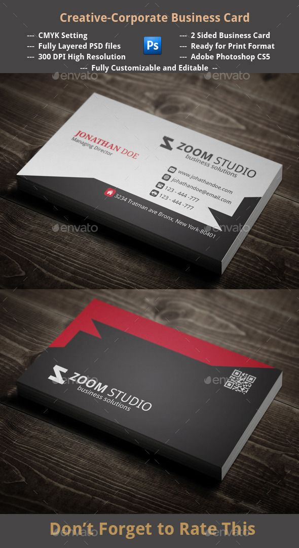 Creative corporate business card pinterest 2 sided business card 2 horizontal layout 3 adobe photoshop cs5 3 reheart Images
