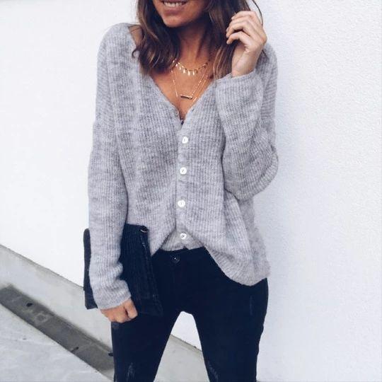 Damen V-Ausschnitt Langarm Strickjacke Pullover Gestrickt Baggy Sweater Cardigan