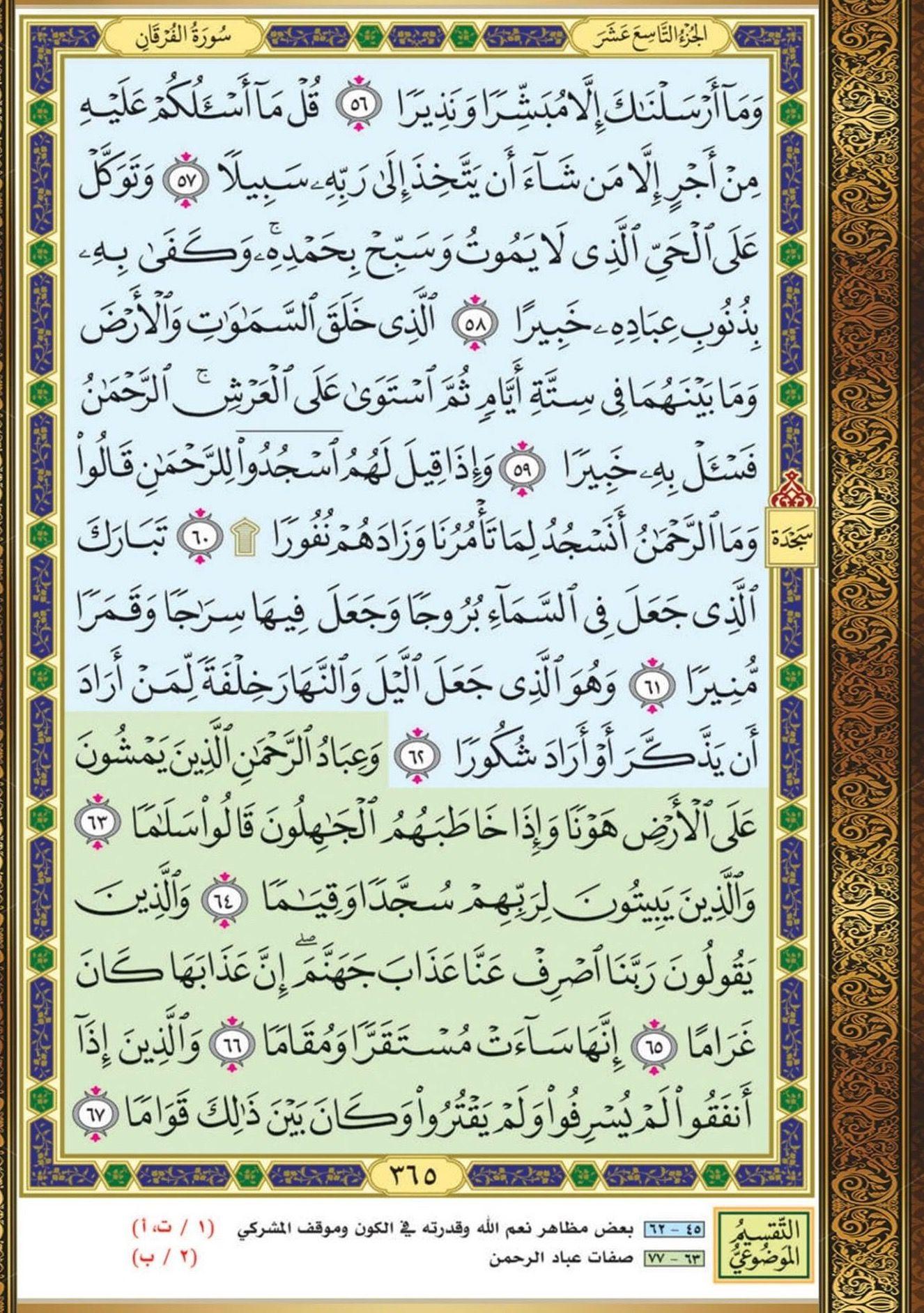 ٥٦ ٦٧ الفرقان مصحف التقسيم الموضوعي Quran Book Holy Quran Book Bullet Journal
