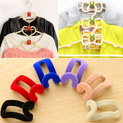 New Arrival 2016 10 Pcs Home Creative Mini Flocking Clothes Hanger Easy Hook  Closet Organizer