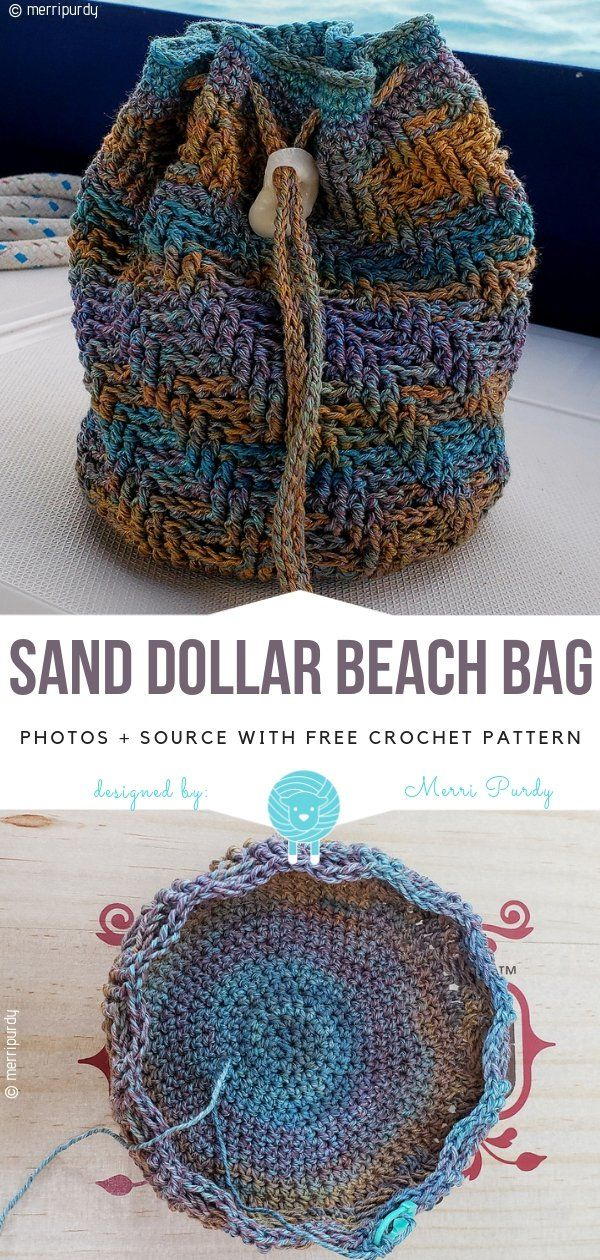 Crochet Drawstring Bags Free Patterns #crochetpatterns