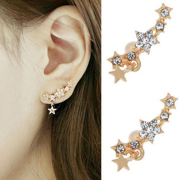 Set Crystal Ear Crawlers Shooting Stars Bar Earrings Cuff