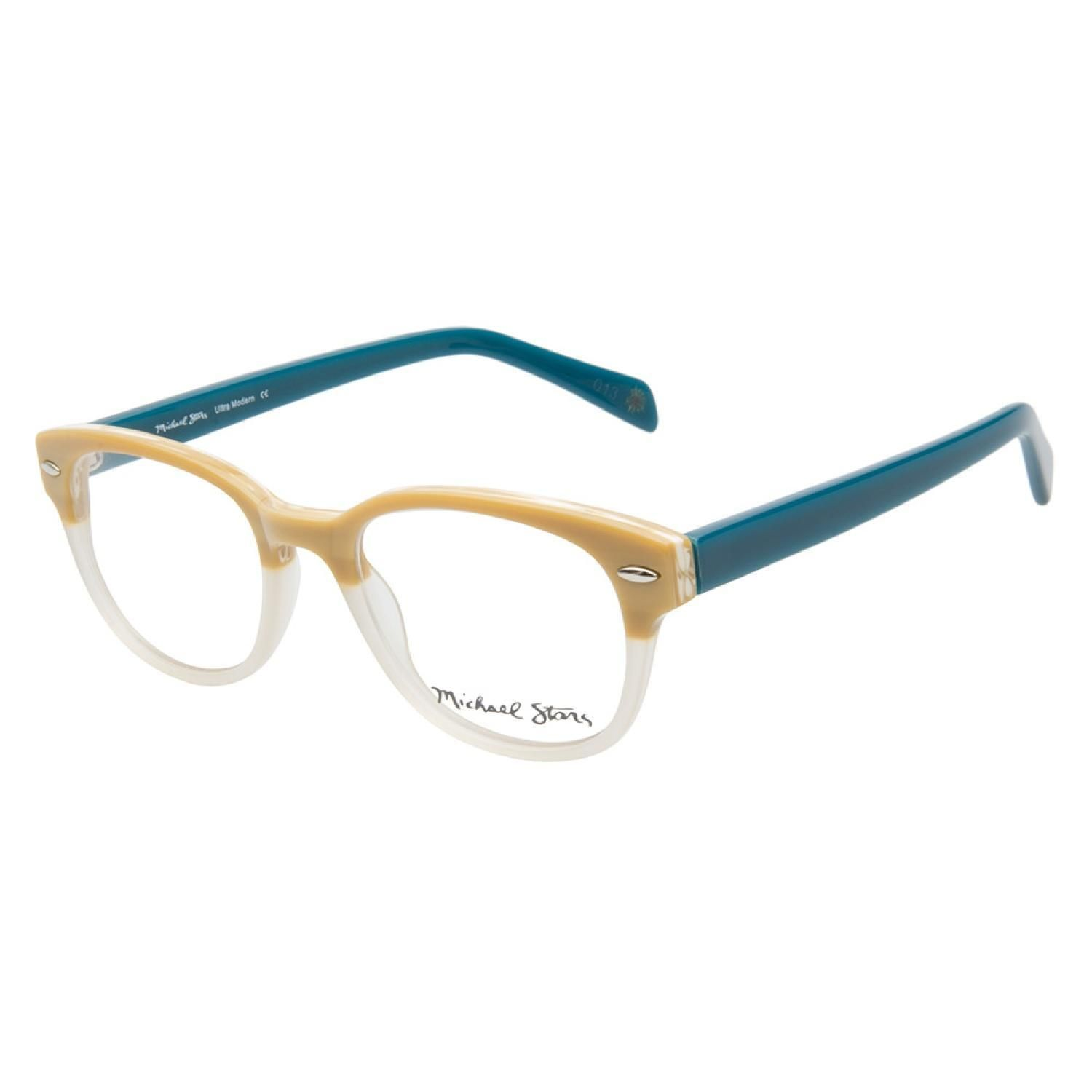 Michael Stars Ultra Modern Linen Teal eyeglasses are fresh and casual. This feminine style comes in a beige and ivory two-toned finish on the frame front, accented with silver rivets on the outer corners. The opaque teal temples add a
