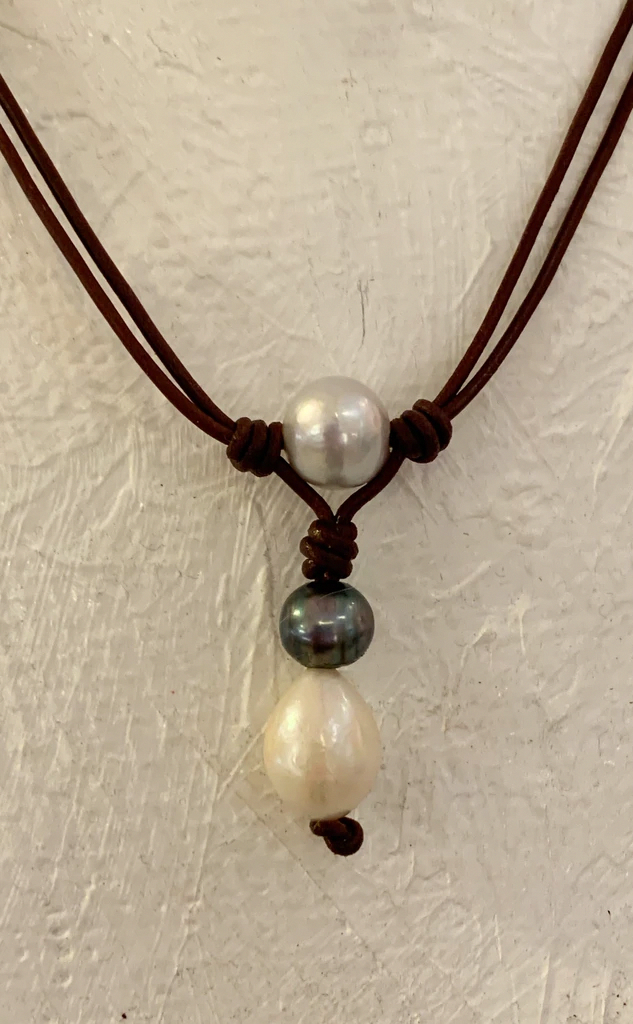 Hand-made Khaki and Brown cord  string necklace with Brown Greek sea glass