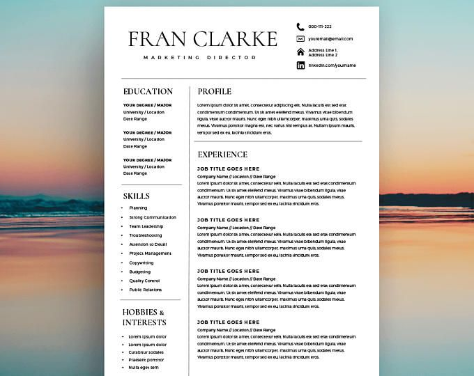 Creative Resume Template for Word, 1 / 2 Page Resume Template and - 2 page resume template
