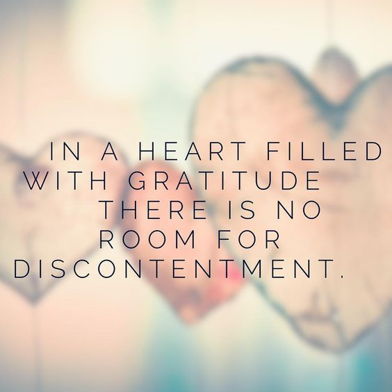 In A Heart Filled With Gratitude There Is No Room For Discontentment.