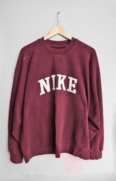 9f5d1091eb307 sweater pull nike pullover red red sweater nike sweater tumblr jumper  sweatshirt shirt indie vintage burgundy oversized retro quote on it casual  oversized ...
