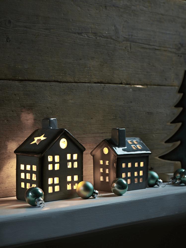 New Grey Ceramic Tea Light Houses