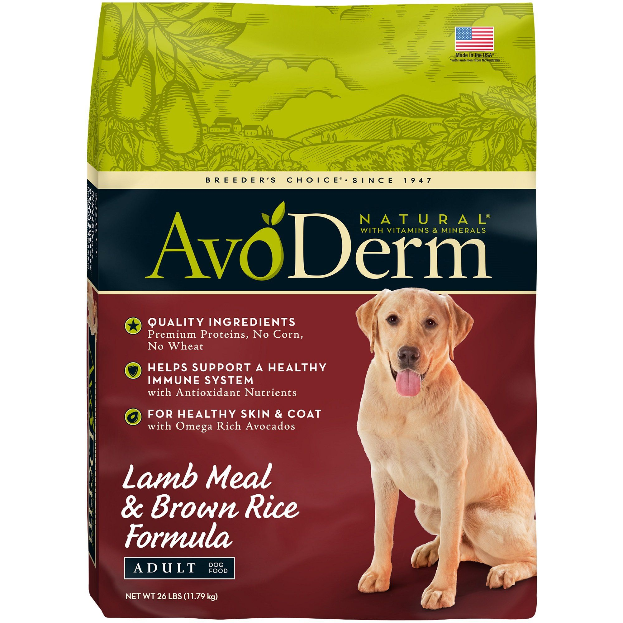 Avoderm Natural Lamb Rice Dry Dog Food 26 Lbs Dry Dog Food