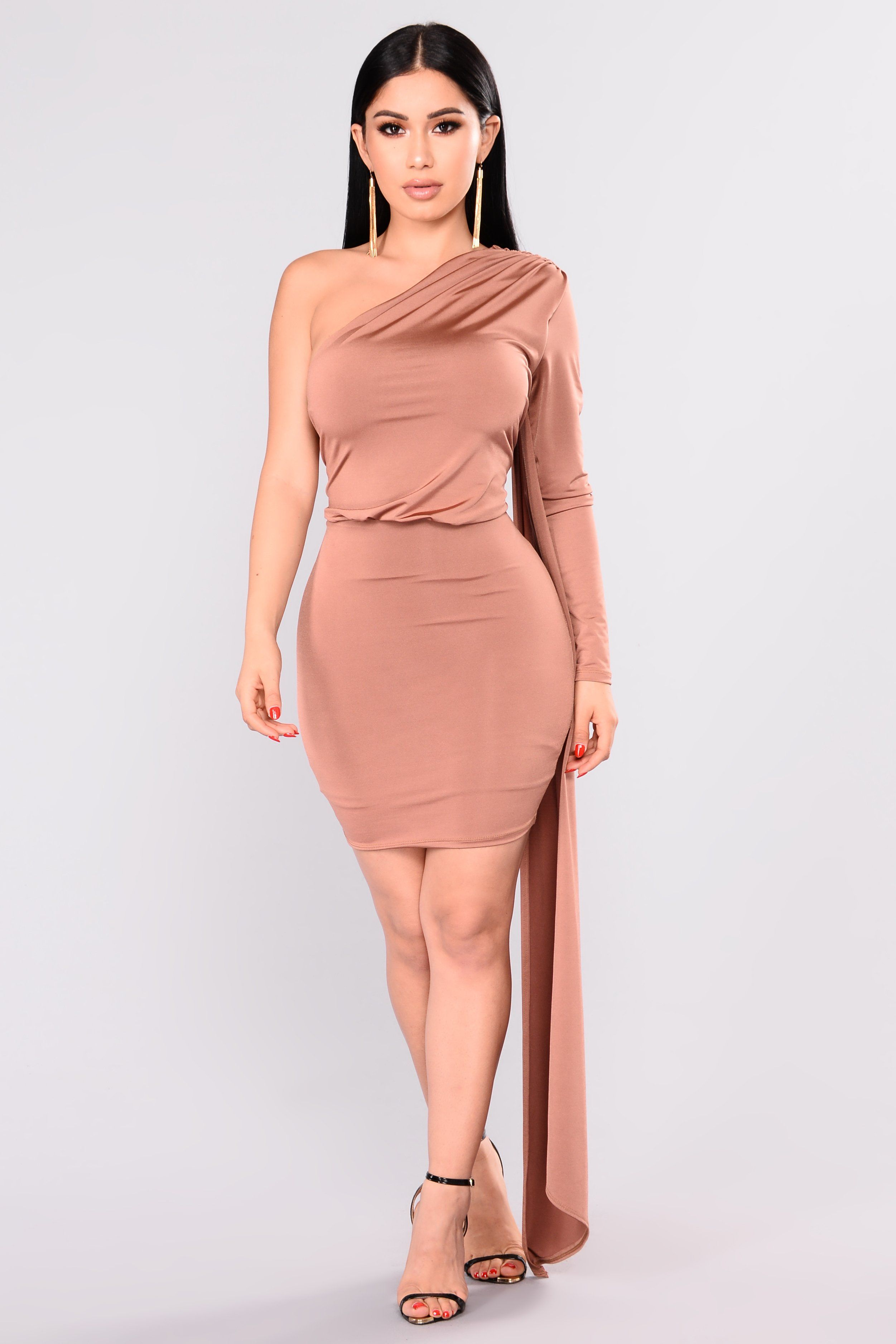 c35b2e896084 Tempted Draped Dress - Chocolate