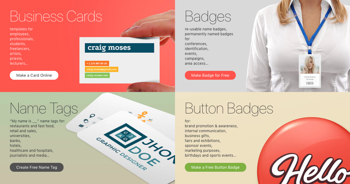 makebadge is an online badge maker with 50 free templates select