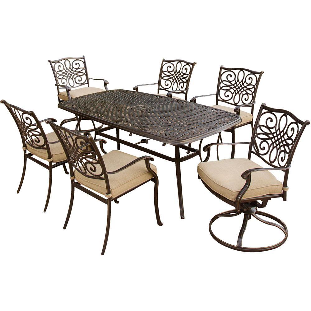 Cambridge Seasons 7 Piece Aluminum Outdoor Dining Set With Tan
