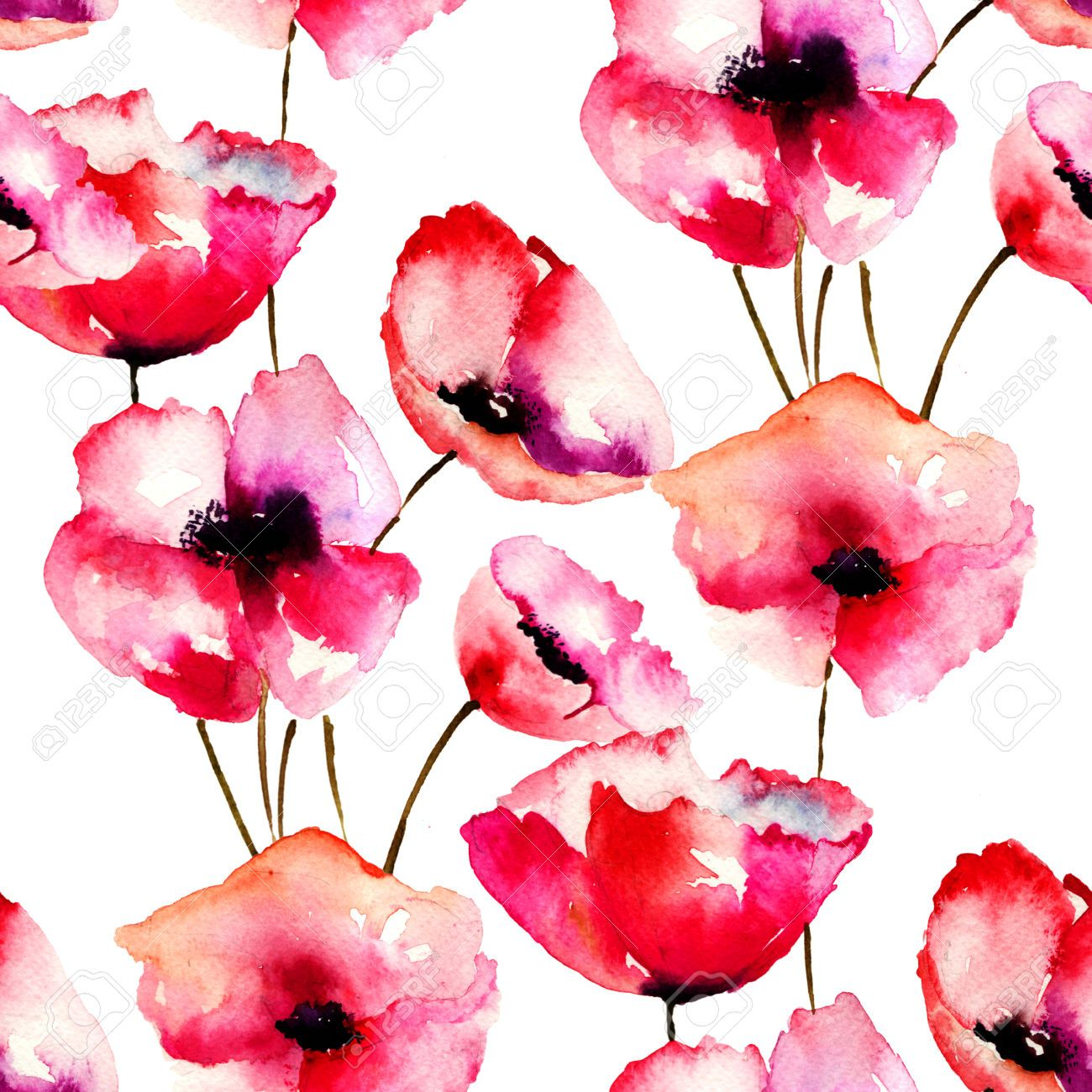 Seamless Pattern With Red Poppy Flowers Watercolor Illustration