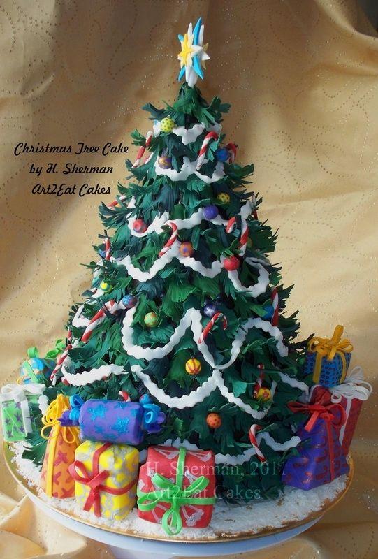 Custom Made Christmas Tree Cake Art Piece Of Cake Pinterest